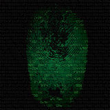 Background with fingerprint and hexadecimal code. Green background with fingerprint and hexadecimal code. Modern security concept. Vector illustration Royalty Free Stock Photos