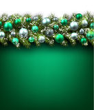 Background with fir branch. Green background with fir branch and balls. Vector illustration Royalty Free Stock Photo