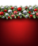 Background with fir branch. Red background with fir branch and balls. Vector illustration Royalty Free Stock Image