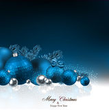 Background with fir branches and christmas balls. Dark blue christmas background with fir twigs and balls. Vector illustration Stock Image