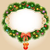 Background with fir branches Christmas balls and ga. Illustration background with fir branches Christmas balls and garland Stock Photos