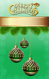 Background with fir branches and Christmas balls wi. Illustration background with fir branches and Christmas balls with a brush Royalty Free Stock Images