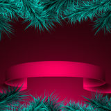 Background with fir branches and ribbon, festive banner Stock Photography