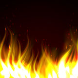 Background with fire. Black background with realistic fire for any design Stock Images