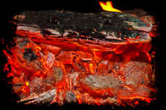 Background from a fire, conflagrant firewoods and coals Royalty Free Stock Image
