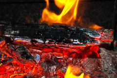 Background from a fire, conflagrant firewoods and coals Royalty Free Stock Photo