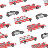 Background of the fire engine, ambulance and police Stock Photos
