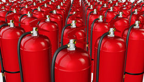 Background from fire extinguishers. 3D rendering Royalty Free Stock Photo
