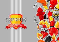 Background with firefighting sticker items. Fire protection equipment.  Stock Image