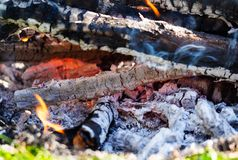 Background of fireplace with gloving embers. Close up view on smouldering fire. Embers burning with red flame. Texture of ash and royalty free stock photo