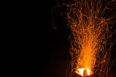 Background of fireplace with sparks Stock Images