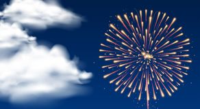 Background with firework in dark sky. Illustration Royalty Free Stock Photos
