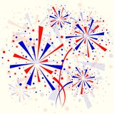 Background with fireworks. Big red and blue fireworks on white background. eps10 Stock Photography