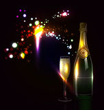Background with fireworks and champagne Royalty Free Stock Images