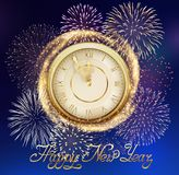 Background with Fireworks and Clock Royalty Free Stock Images