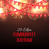 Background with fireworks and with a garland from Turkish flags vector illustration and an inscription in Turkish Royalty Free Stock Image