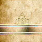Background first communion Church. Sepia  parchment background first communion greeting card Church, with copy space Stock Photo