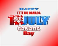 Background for First July, Canada day. Holiday design, background with 3d texts, maple leaf and national flag colors, for First of July, Canada National day Royalty Free Stock Photo