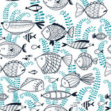 Background with fishes in cartoon style Stock Images