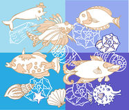 Background with Fishes and Cockleshell Royalty Free Stock Images