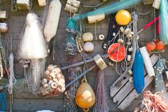 Background with fishing gear royalty free stock photography