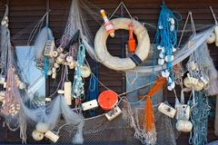Background with fishing gear stock images