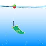 Background fishing money, vector. Cartoon hook money underwater, vector eps 10 Royalty Free Stock Photography
