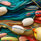 Background of  fishing nets and floats Royalty Free Stock Photos