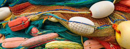 Background of  fishing nets and floats Stock Photo