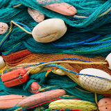 Background of fishing nets and floats Stock Images