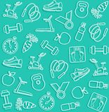 Background, fitness, sports, line, icons, green. Stock Photos