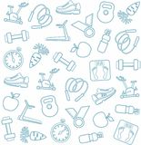 Background, fitness, sports, line icons, white. Stock Photo