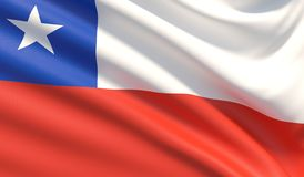 Flag of Chile. Waved highly detailed fabric texture. stock photos