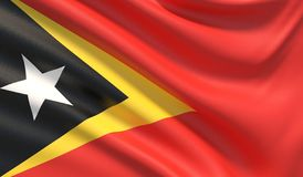 Flag of East Timor. Waved highly detailed fabric texture. 3D illustration. vector illustration