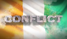 Conflict concept in Ivory Coast. Waved highly detailed fabric texture. 3D illustration. royalty free stock image
