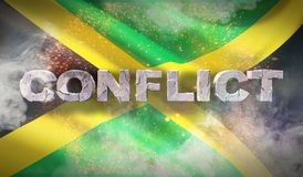 Conflict concept in Jamaica. Waved highly detailed fabric texture. 3D illustration. stock photography