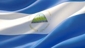 Waved highly detailed close-up flag of Nicaragua. 3D illustration. stock image