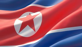Waved highly detailed close-up flag of North Korea. 3D illustration. royalty free stock images