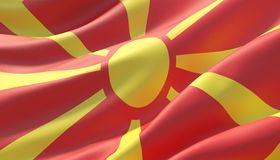 Waved highly detailed close-up flag of North Macedonia. 3D illustration. royalty free stock image