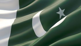 Waved highly detailed close-up flag of Pakistan. 3D illustration. stock photo