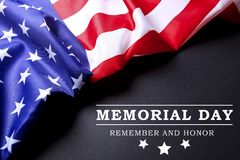Background flag of the United States of America for national federal holidays celebration and mourning remembrance day. USA symbol. Memorial day weekend text Royalty Free Stock Photos