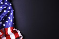 Background flag of the United States of America for national federal holidays celebration and mourning remembrance day. USA symbol. Patriotic composition w/ Royalty Free Stock Photos