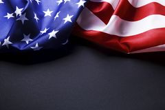 Background flag of the United States of America for national federal holidays celebration and mourning remembrance day. USA symbol. Patriotic composition w/ Royalty Free Stock Photo