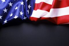 Background flag of the United States of America for national federal holidays celebration and mourning remembrance day. USA symbol. Patriotic composition w/ Stock Photography