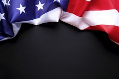 Background flag of the United States of America for national federal holidays celebration and mourning remembrance day. USA symbol. Patriotic composition w/ Stock Photos