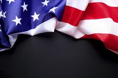 Background flag of the United States of America for national federal holidays celebration and mourning remembrance day. USA symbol. Patriotic composition w/ Stock Photo