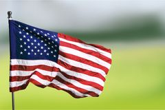 USA United State of America flag on green. Background flag usa green red white blue stock photos