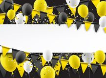 Background with flags and balloons. Background with yellow flags, balloons and confetti. Vector paper illustration Stock Photography
