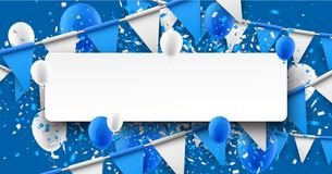 Background with flags and balloons. Blue background with flags, balloons and confetti. Vector paper illustration Royalty Free Stock Photo
