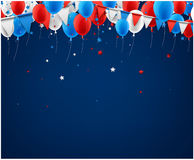 Background with flags and balloons. Blue festive background with flags, balloons and stars confetti. Vector illustration Stock Photos